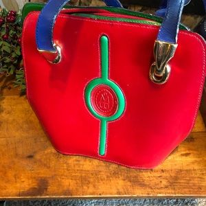 Vtg Menbur bag purse, made in Spain, red, blue/grn